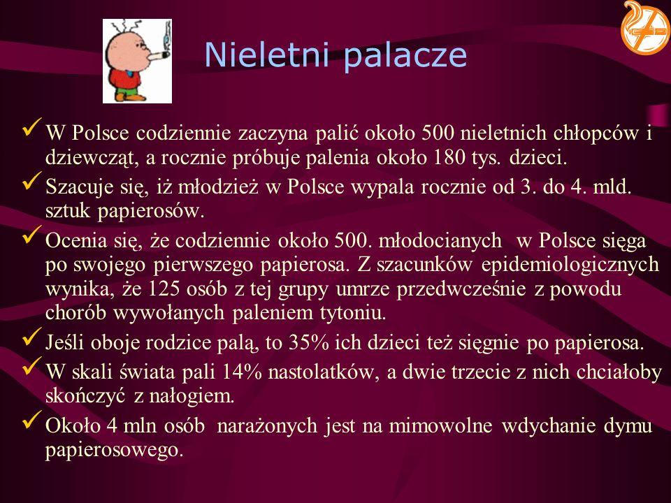 Nieletni palacze W Polsce codziennie zaczyna palić około 500 nieletnich chłopców i dziewcząt, a rocznie próbuje palenia około 180 tys. dzieci. Szacuje