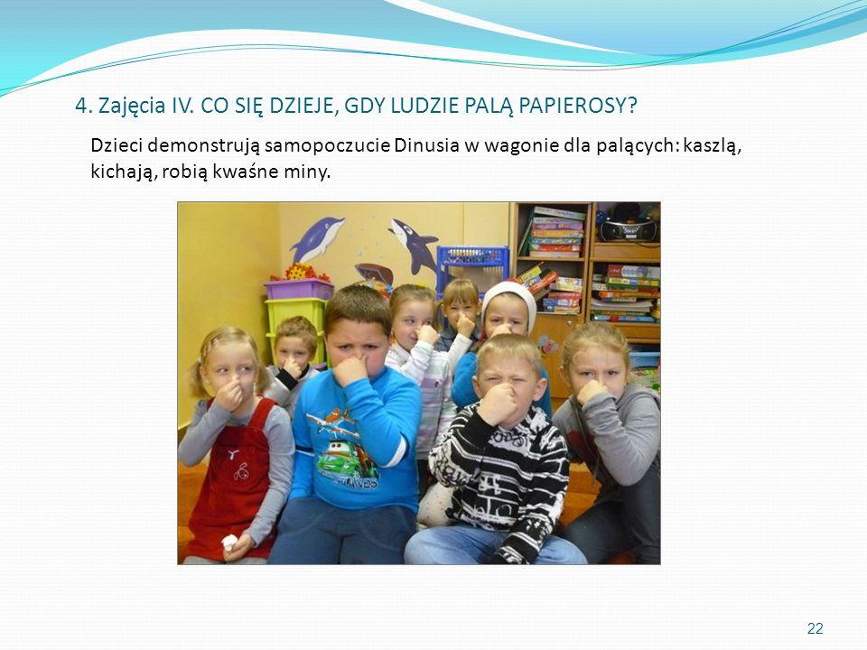 Dzieci demonstrują samopoczucie Dinusia w wagonie dla palących: kaszlą, kichają, robią kwaśne miny. 22 4. Zajęcia IV. CO SIĘ DZIEJE, GDY LUDZIE PALĄ P