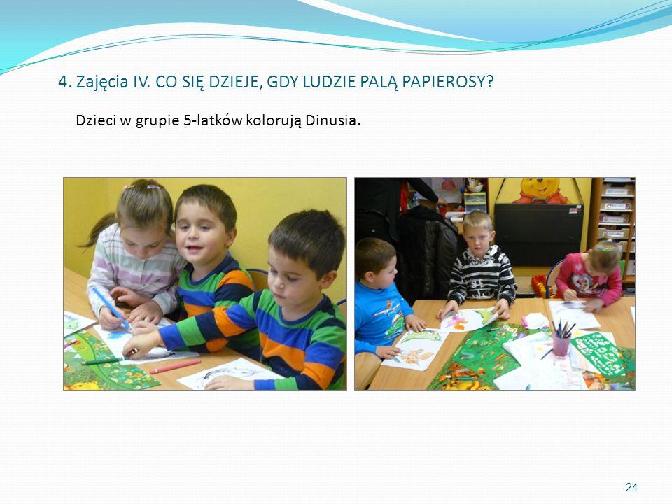 Dzieci w grupie 5-latków kolorują Dinusia. 24 4. Zajęcia IV. CO SIĘ DZIEJE, GDY LUDZIE PALĄ PAPIEROSY?