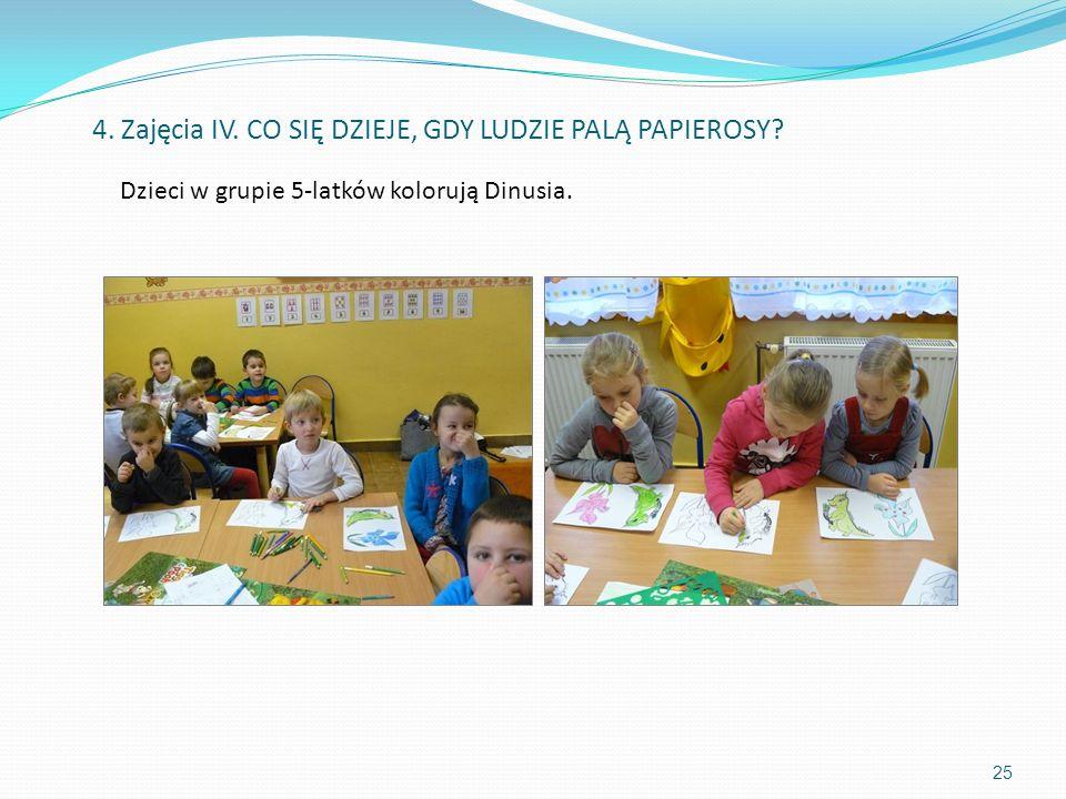 25 Dzieci w grupie 5-latków kolorują Dinusia. 4. Zajęcia IV. CO SIĘ DZIEJE, GDY LUDZIE PALĄ PAPIEROSY?