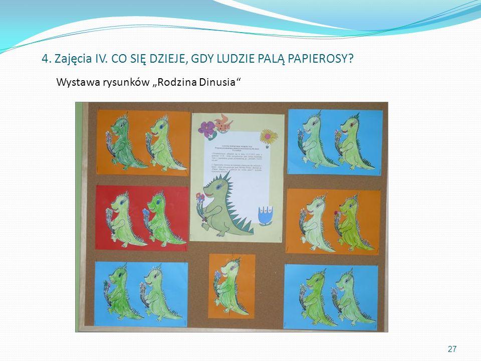 Wystawa rysunków Rodzina Dinusia 27 4. Zajęcia IV. CO SIĘ DZIEJE, GDY LUDZIE PALĄ PAPIEROSY?