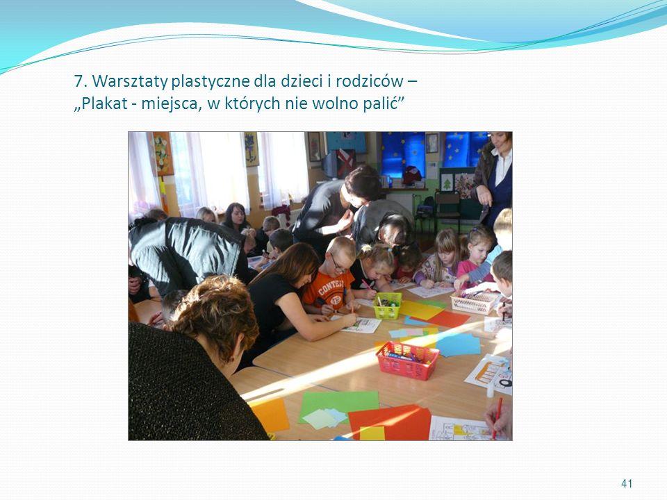 7. Warsztaty plastyczne dla dzieci i rodziców – Plakat - miejsca, w których nie wolno palić 41