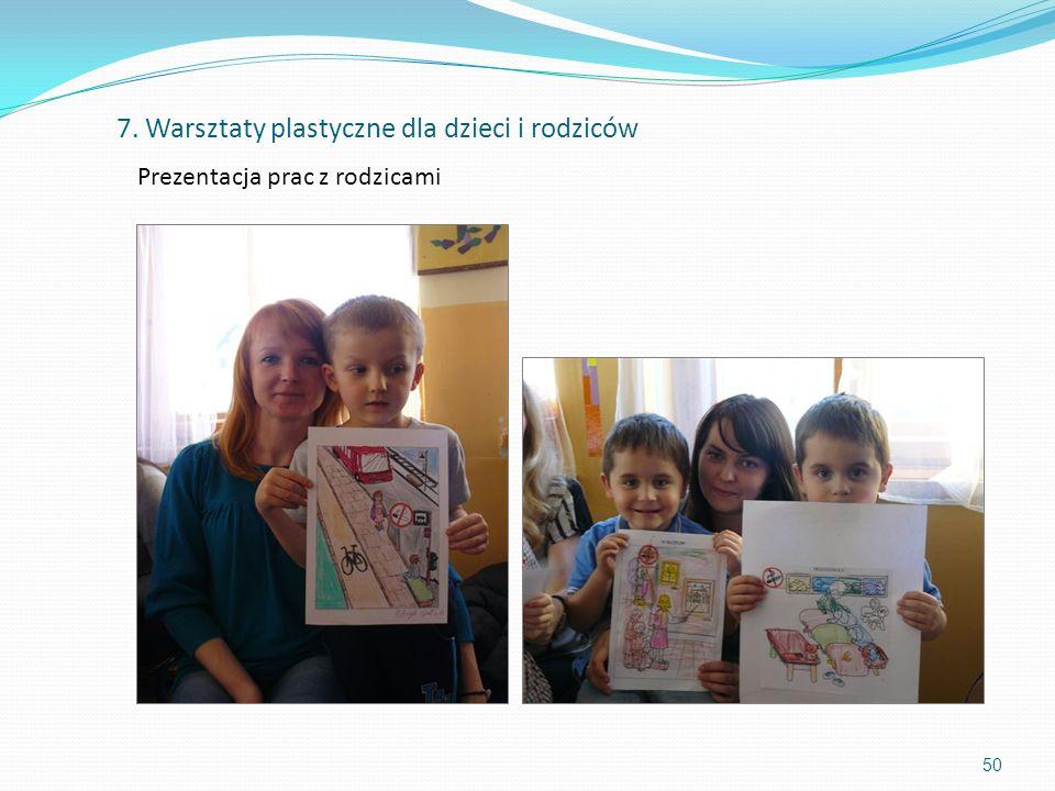 50 Prezentacja prac z rodzicami 7. Warsztaty plastyczne dla dzieci i rodziców