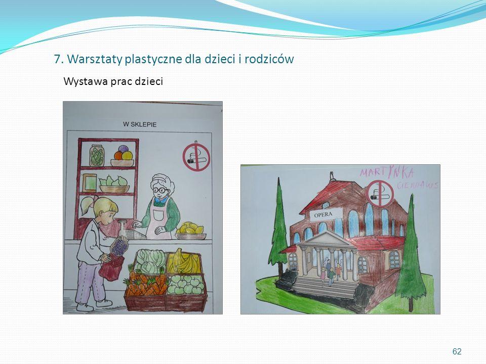 62 7. Warsztaty plastyczne dla dzieci i rodziców Wystawa prac dzieci