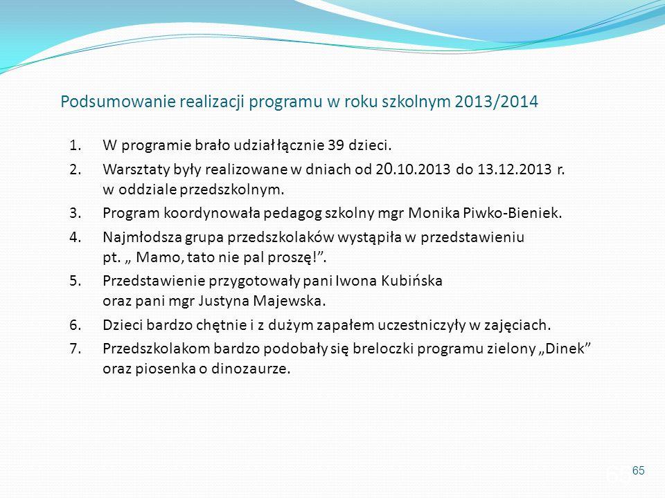 Podsumowanie realizacji programu w roku szkolnym 2013/2014 1. W programie brało udział łącznie 39 dzieci. 2. Warsztaty były realizowane w dniach od 2