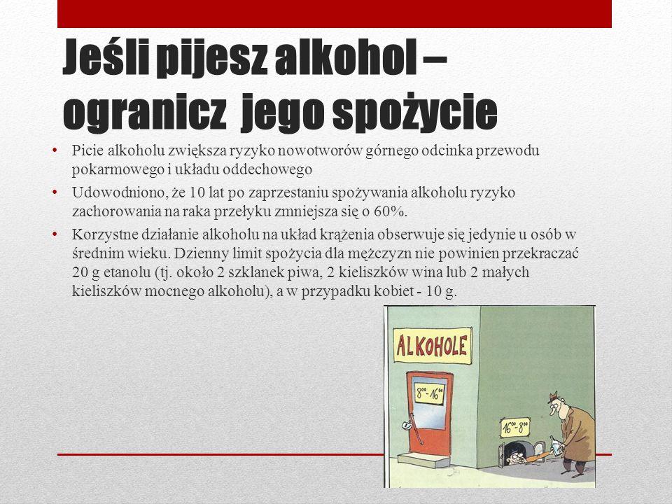 Jeśli pijesz alkohol – ogranicz jego spożycie Picie alkoholu zwiększa ryzyko nowotworów górnego odcinka przewodu pokarmowego i układu oddechowego Udow