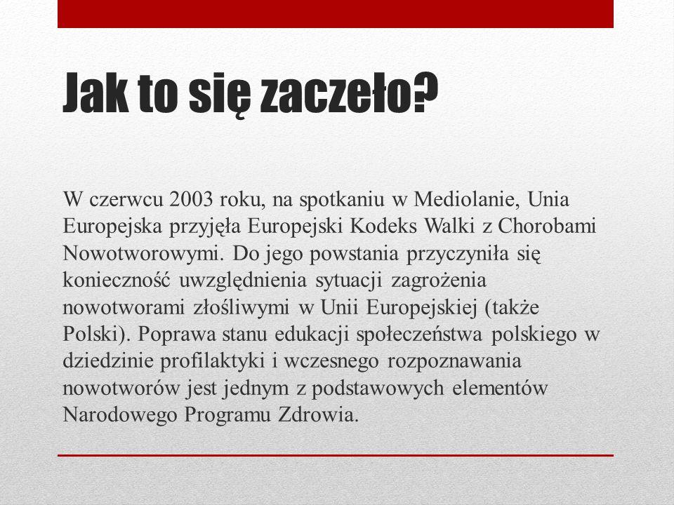 Jak to się zaczeło? W czerwcu 2003 roku, na spotkaniu w Mediolanie, Unia Europejska przyjęła Europejski Kodeks Walki z Chorobami Nowotworowymi. Do jeg