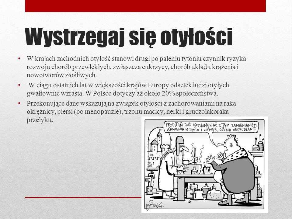 Wystrzegaj się otyłości W krajach zachodnich otyłość stanowi drugi po paleniu tytoniu czynnik ryzyka rozwoju chorób przewlekłych, zwłaszcza cukrzycy,