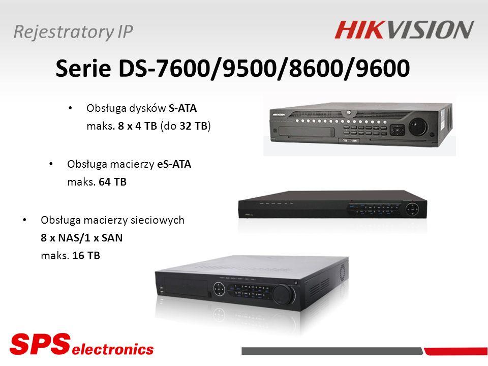 Serie DS-7600/9500/8600/9600 Obsługa dysków S-ATA maks. 8 x 4 TB (do 32 TB) Obsługa macierzy eS-ATA maks. 64 TB Obsługa macierzy sieciowych 8 x NAS/1