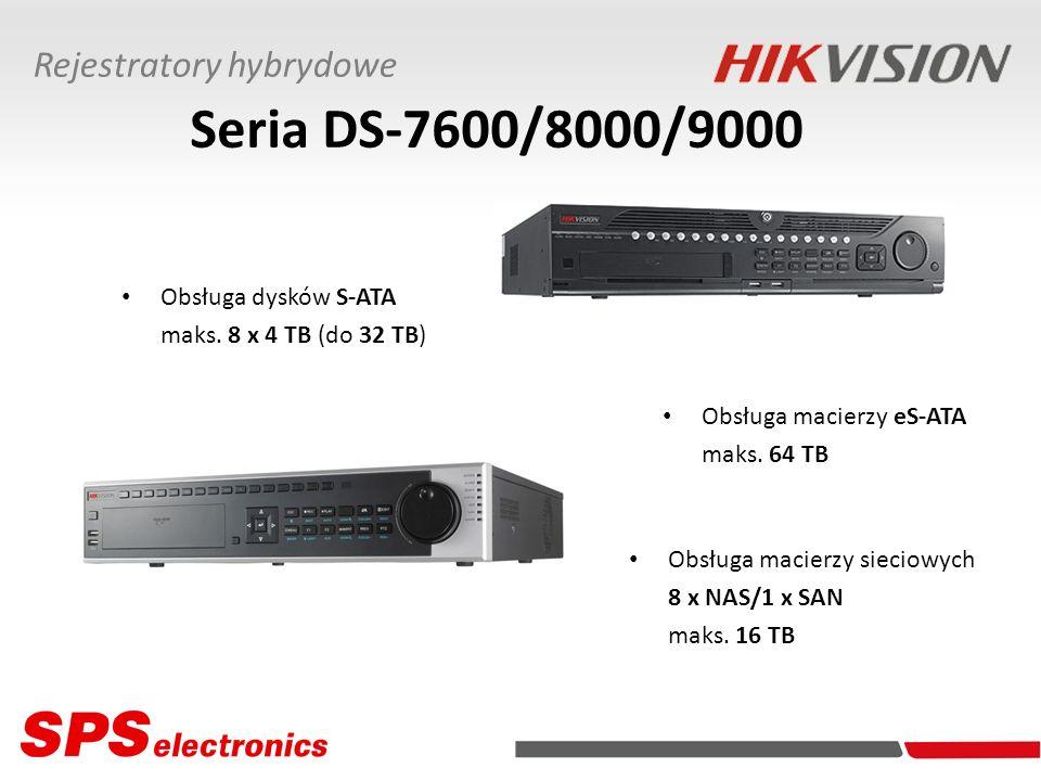 Seria DS-7600/8000/9000 Obsługa dysków S-ATA maks. 8 x 4 TB (do 32 TB) Obsługa macierzy eS-ATA maks. 64 TB Obsługa macierzy sieciowych 8 x NAS/1 x SAN