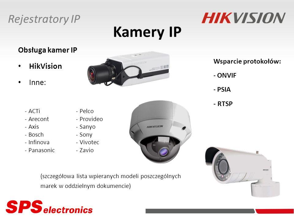 Kamery IP Obsługa kamer IP HikVision Inne: - ACTi - Arecont - Axis - Bosch - Infinova - Panasonic (szczegółowa lista wpieranych modeli poszczególnych marek w oddzielnym dokumencie) Rejestratory IP - Pelco - Provideo - Sanyo - Sony - Vivotec - Zavio Wsparcie protokołów: - ONVIF - PSIA - RTSP