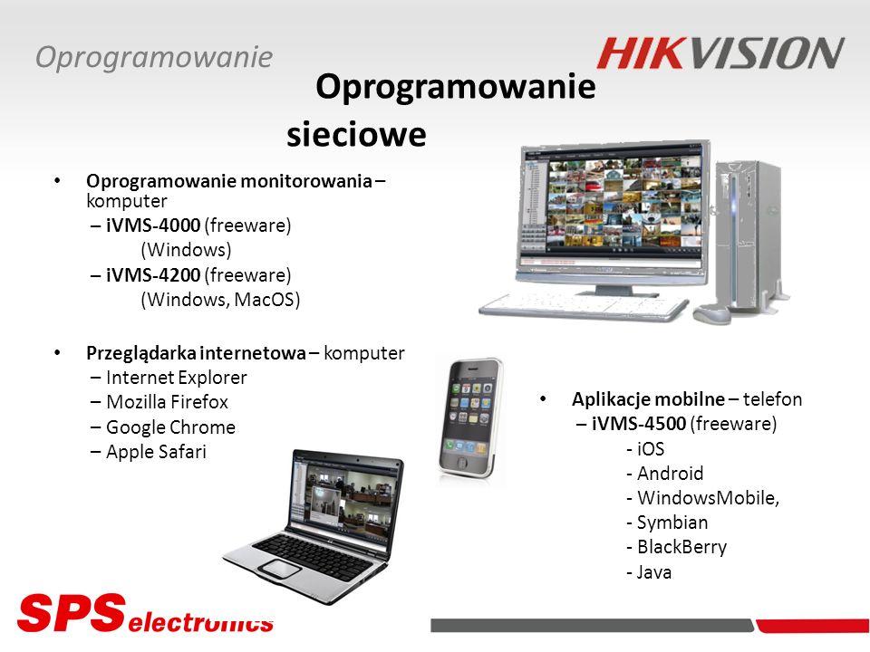 Oprogramowanie sieciowe Oprogramowanie monitorowania – komputer – iVMS-4000 (freeware) (Windows) – iVMS-4200 (freeware) (Windows, MacOS) Przeglądarka