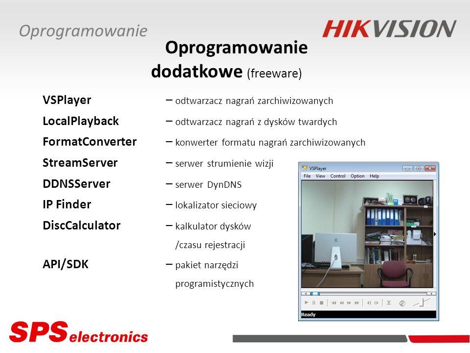 Oprogramowanie dodatkowe (freeware) VSPlayer – odtwarzacz nagrań zarchiwizowanych LocalPlayback – odtwarzacz nagrań z dysków twardych FormatConverter– konwerter formatu nagrań zarchiwizowanych StreamServer – serwer strumienie wizji DDNSServer– serwer DynDNS IP Finder– lokalizator sieciowy DiscCalculator– kalkulator dysków /czasu rejestracji API/SDK– pakiet narzędzi programistycznych Oprogramowanie