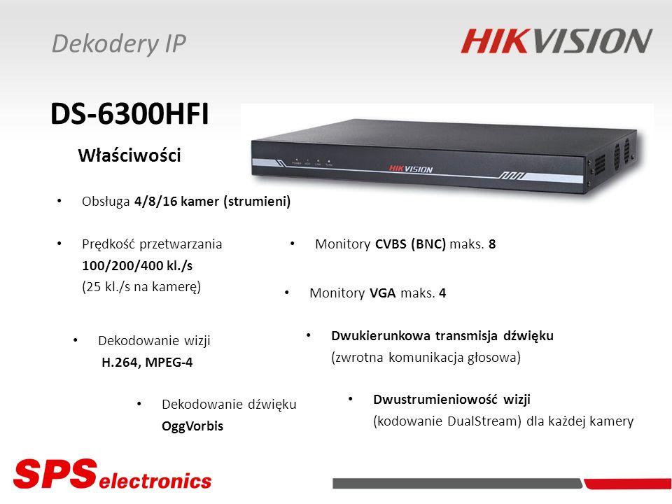 Dekodery IP DS-6300HFI Właściwości Obsługa 4/8/16 kamer (strumieni) Dekodowanie wizji H.264, MPEG-4 Prędkość przetwarzania 100/200/400 kl./s (25 kl./s na kamerę) Dwustrumieniowość wizji (kodowanie DualStream) dla każdej kamery Dwukierunkowa transmisja dźwięku (zwrotna komunikacja głosowa) Dekodowanie dźwięku OggVorbis Monitory CVBS (BNC) maks.