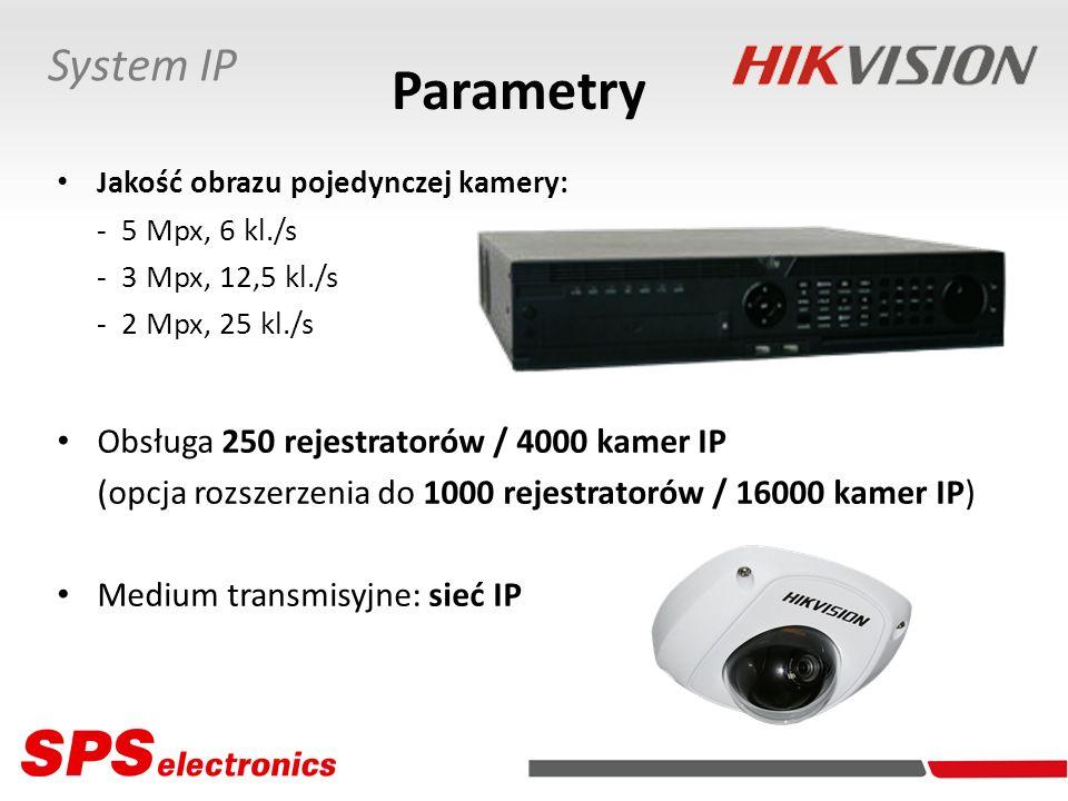 Parametry Jakość obrazu pojedynczej kamery: - 5 Mpx, 6 kl./s - 3 Mpx, 12,5 kl./s - 2 Mpx, 25 kl./s Obsługa 250 rejestratorów / 4000 kamer IP (opcja ro