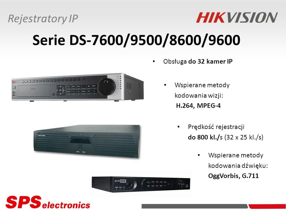 Rejestratory IP Serie DS-7600/9500/8600/9600 Obsługa do 32 kamer IP Wspierane metody kodowania wizji: H.264, MPEG-4 Wspierane metody kodowania dźwięku: OggVorbis, G.711 Prędkość rejestracji do 800 kl./s (32 x 25 kl./s)