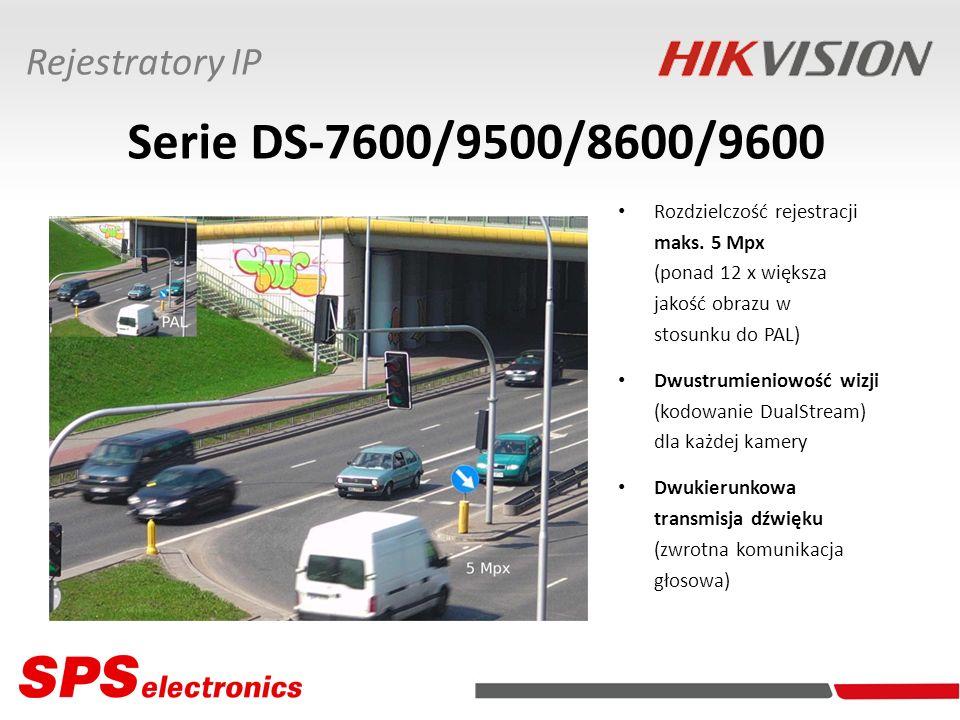 Serie DS-7600/9500/8600/9600 Rozdzielczość rejestracji maks. 5 Mpx (ponad 12 x większa jakość obrazu w stosunku do PAL) Dwustrumieniowość wizji (kodow