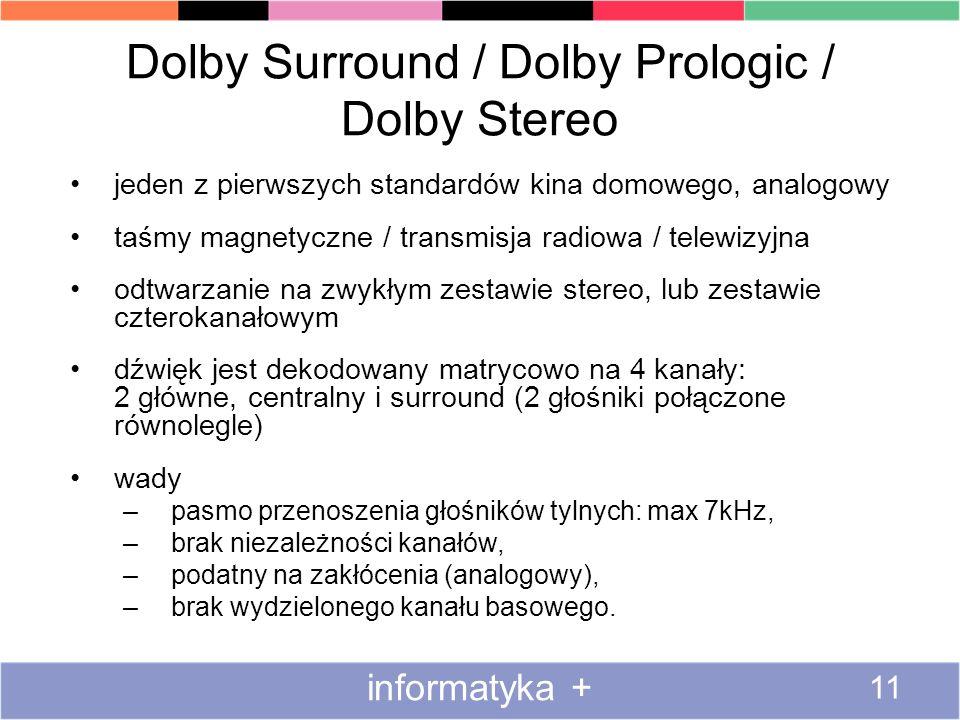Dolby Surround / Dolby Prologic / Dolby Stereo jeden z pierwszych standardów kina domowego, analogowy taśmy magnetyczne / transmisja radiowa / telewizyjna odtwarzanie na zwykłym zestawie stereo, lub zestawie czterokanałowym dźwięk jest dekodowany matrycowo na 4 kanały: 2 główne, centralny i surround (2 głośniki połączone równolegle) wady –pasmo przenoszenia głośników tylnych: max 7kHz, –brak niezależności kanałów, –podatny na zakłócenia (analogowy), –brak wydzielonego kanału basowego.