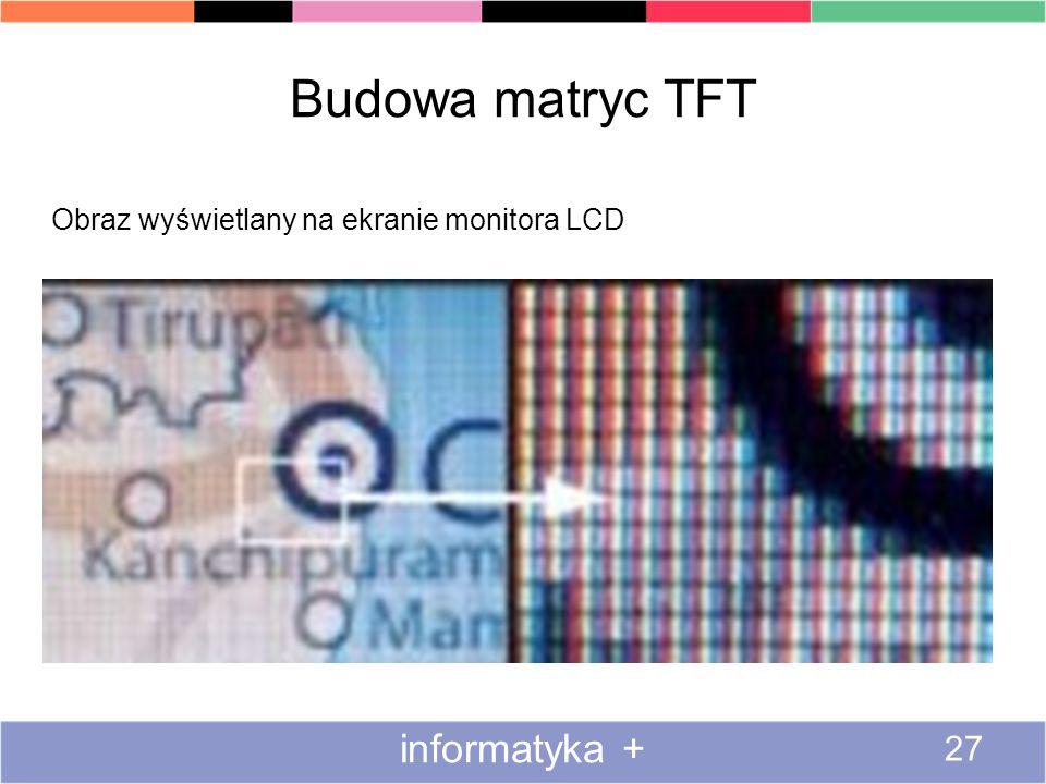 Budowa matryc TFT informatyka + 27 Obraz wyświetlany na ekranie monitora LCD