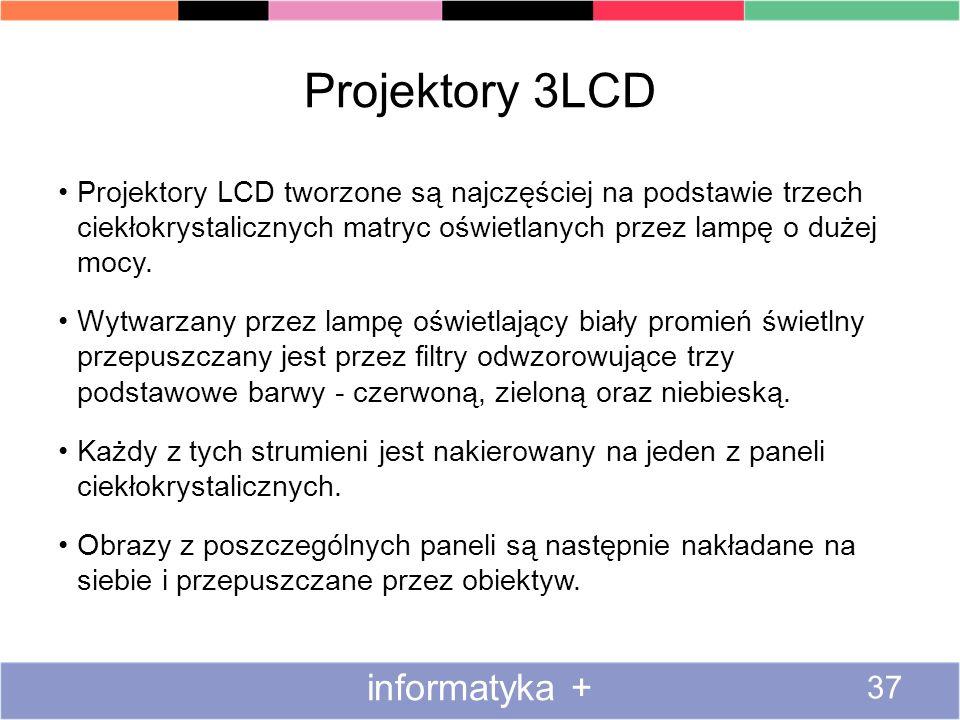 Projektory 3LCD Projektory LCD tworzone są najczęściej na podstawie trzech ciekłokrystalicznych matryc oświetlanych przez lampę o dużej mocy. Wytwarza
