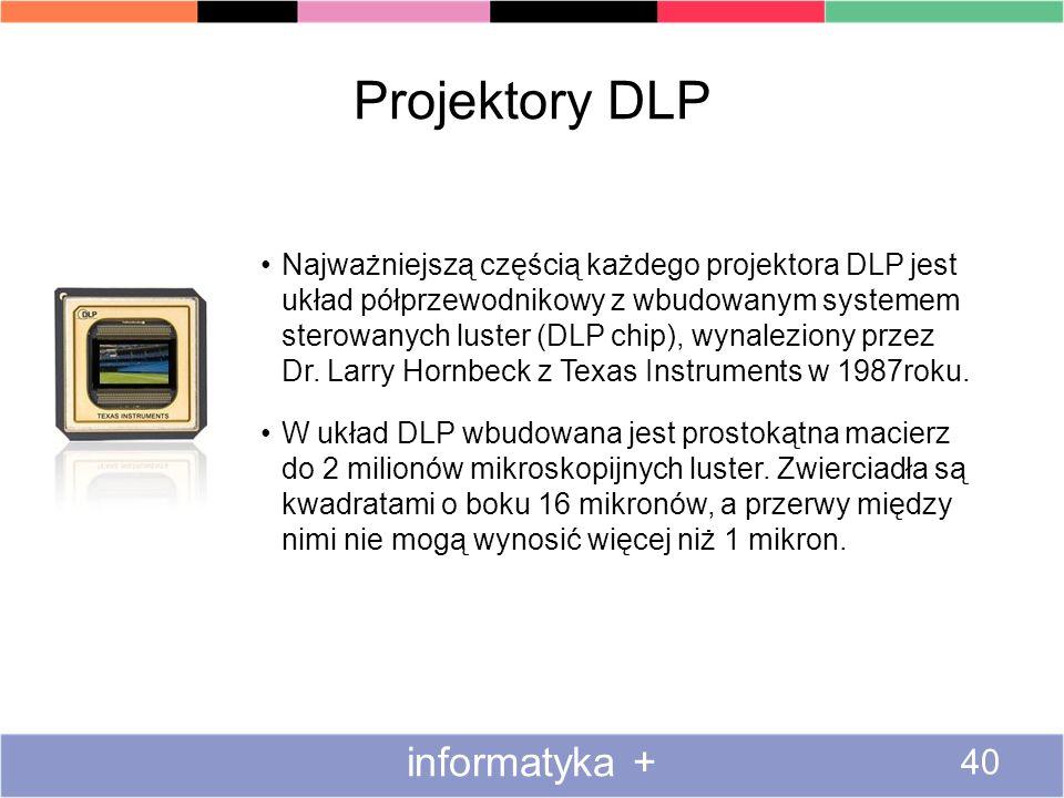 Projektory DLP informatyka + 40 Najważniejszą częścią każdego projektora DLP jest układ półprzewodnikowy z wbudowanym systemem sterowanych luster (DLP chip), wynaleziony przez Dr.
