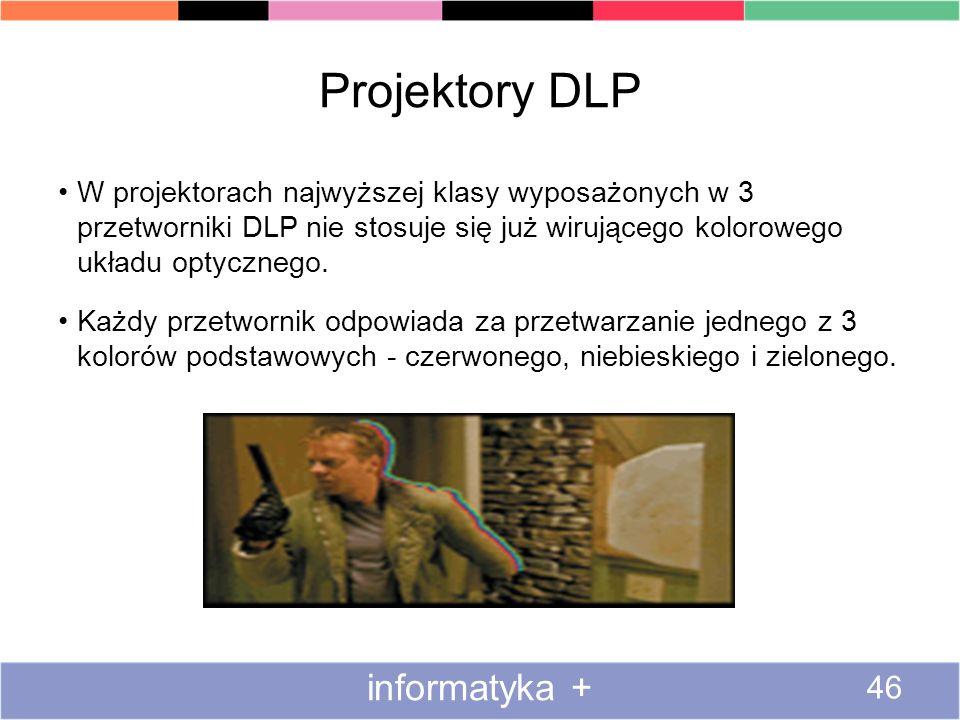 Projektory DLP W projektorach najwyższej klasy wyposażonych w 3 przetworniki DLP nie stosuje się już wirującego kolorowego układu optycznego. Każdy pr