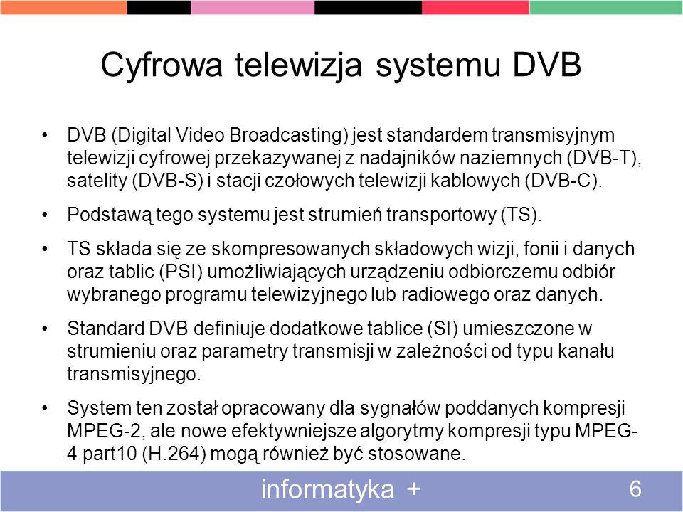 Cyfrowa telewizja systemu DVB DVB (Digital Video Broadcasting) jest standardem transmisyjnym telewizji cyfrowej przekazywanej z nadajników naziemnych (DVB-T), satelity (DVB-S) i stacji czołowych telewizji kablowych (DVB-C).