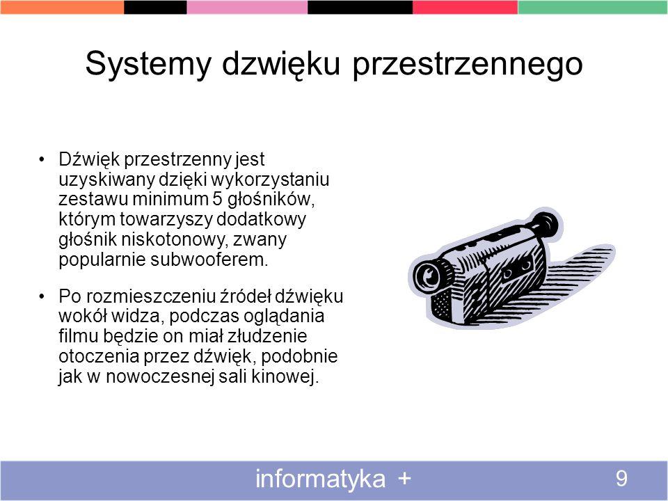Systemy dzwięku przestrzennego informatyka + 9 Dźwięk przestrzenny jest uzyskiwany dzięki wykorzystaniu zestawu minimum 5 głośników, którym towarzyszy