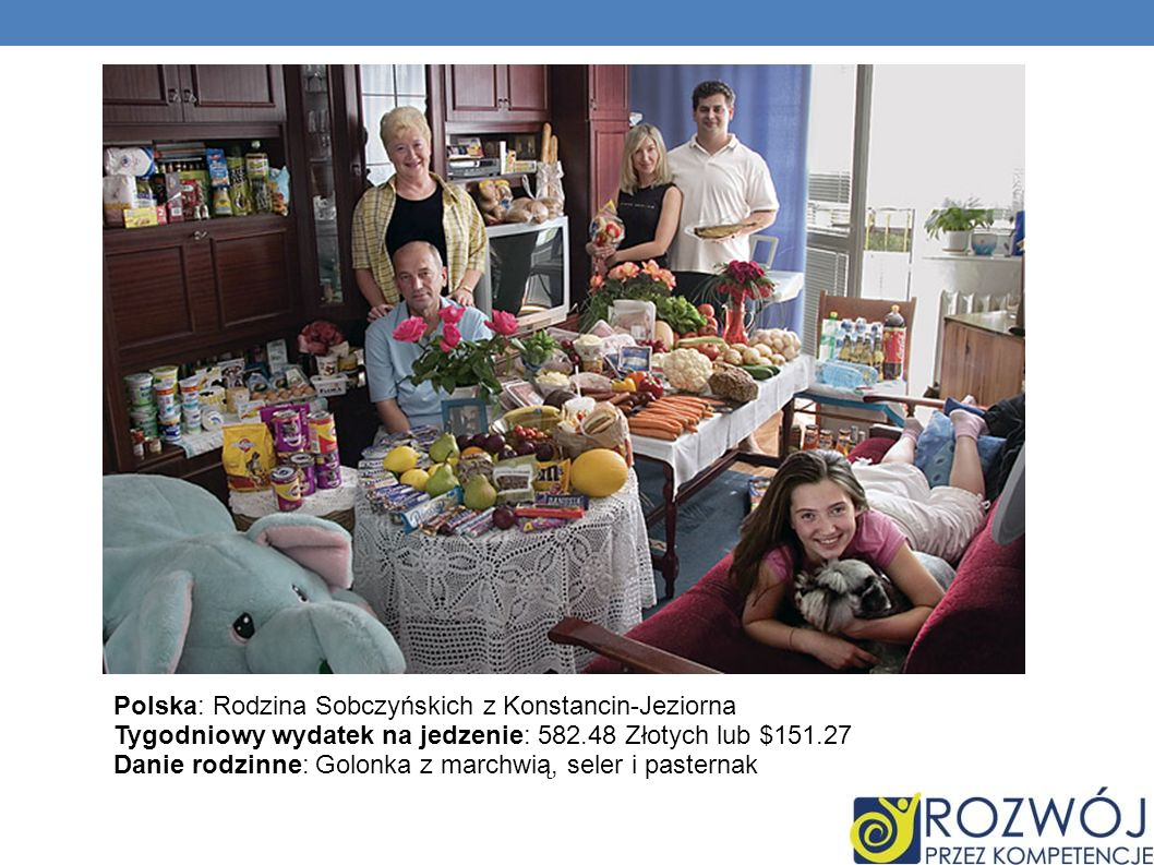 Polska: Rodzina Sobczyńskich z Konstancin-Jeziorna Tygodniowy wydatek na jedzenie: 582.48 Złotych lub $151.27 Danie rodzinne: Golonka z marchwią, sele