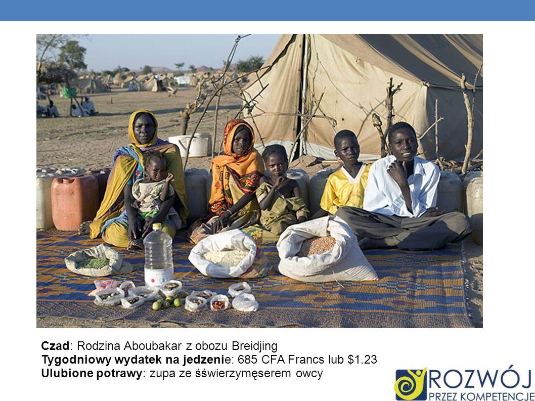 Czad: Rodzina Aboubakar z obozu Breidjing Tygodniowy wydatek na jedzenie: 685 CFA Francs lub $1.23 Ulubione potrawy: zupa ze śświerzymęserem owcy