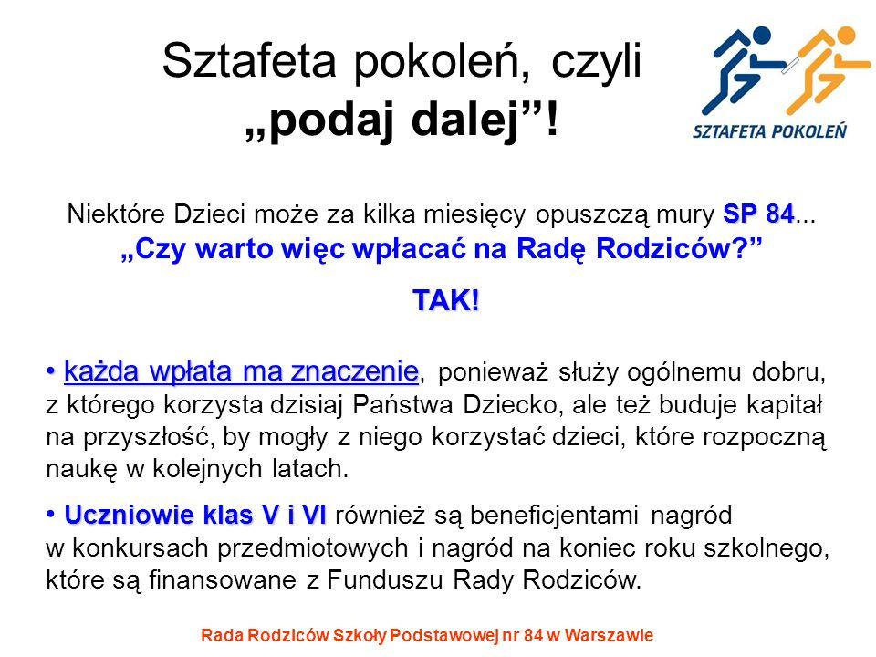 Rada Rodziców Szkoły Podstawowej nr 84 w Warszawie Sztafeta pokoleń, czyli podaj dalej! SP 84 Niektóre Dzieci może za kilka miesięcy opuszczą mury SP