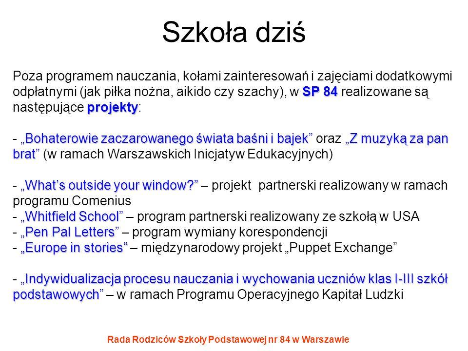 Rada Rodziców Szkoły Podstawowej nr 84 w Warszawie Szkoła dziś SP 84 projekty Poza programem nauczania, kołami zainteresowań i zajęciami dodatkowymi o