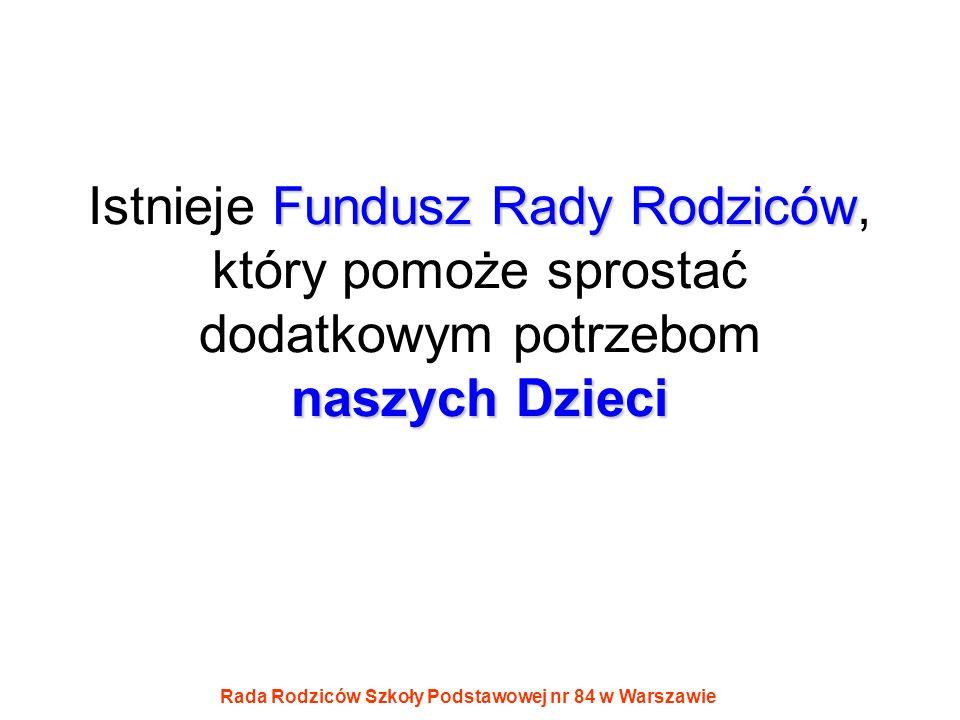 Rada Rodziców Szkoły Podstawowej nr 84 w Warszawie Fundusz Rady Rodziców naszych Dzieci Istnieje Fundusz Rady Rodziców, który pomoże sprostać dodatkow
