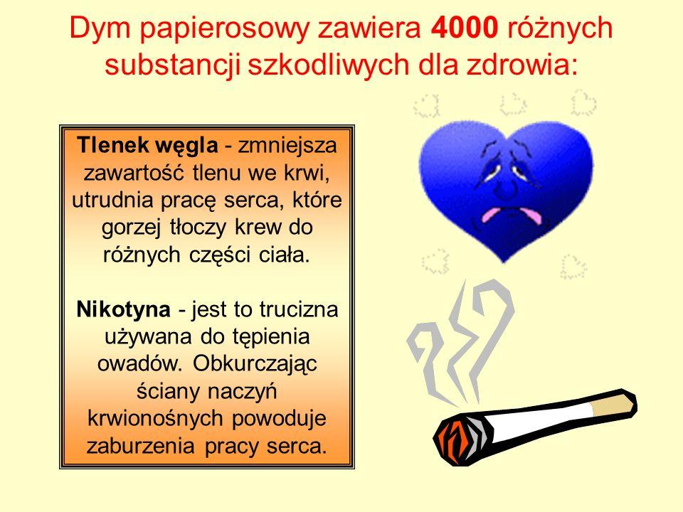 Dym papierosowy zawiera 4000 różnych substancji szkodliwych dla zdrowia: Tlenek węgla - zmniejsza zawartość tlenu we krwi, utrudnia pracę serca, które gorzej tłoczy krew do różnych części ciała.