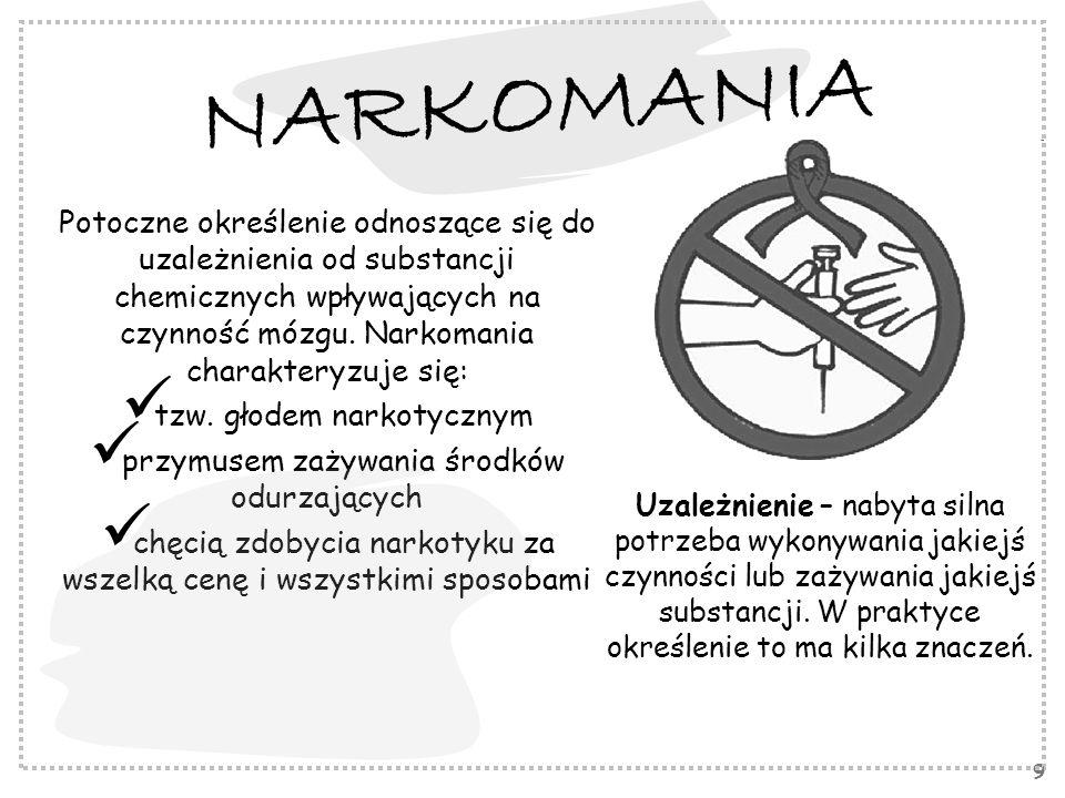 9 NARKOMANIA Potoczne określenie odnoszące się do uzależnienia od substancji chemicznych wpływających na czynność mózgu.