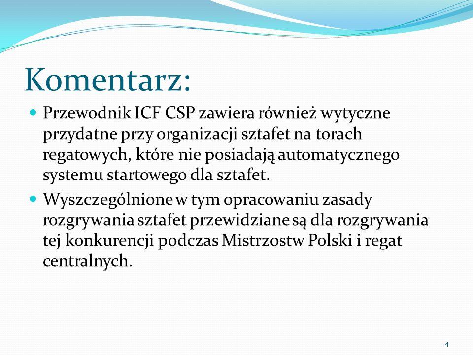 4 Komentarz: Przewodnik ICF CSP zawiera również wytyczne przydatne przy organizacji sztafet na torach regatowych, które nie posiadają automatycznego systemu startowego dla sztafet.