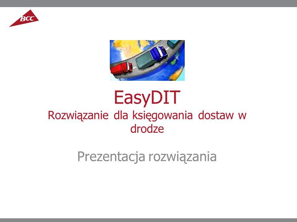EasyDIT Rozwiązanie dla księgowania dostaw w drodze Prezentacja rozwiązania