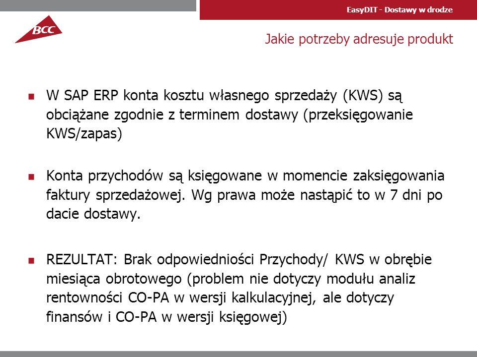 EasyDIT - Dostawy w drodze Jakie potrzeby adresuje produkt W SAP ERP konta kosztu własnego sprzedaży (KWS) są obciążane zgodnie z terminem dostawy (pr