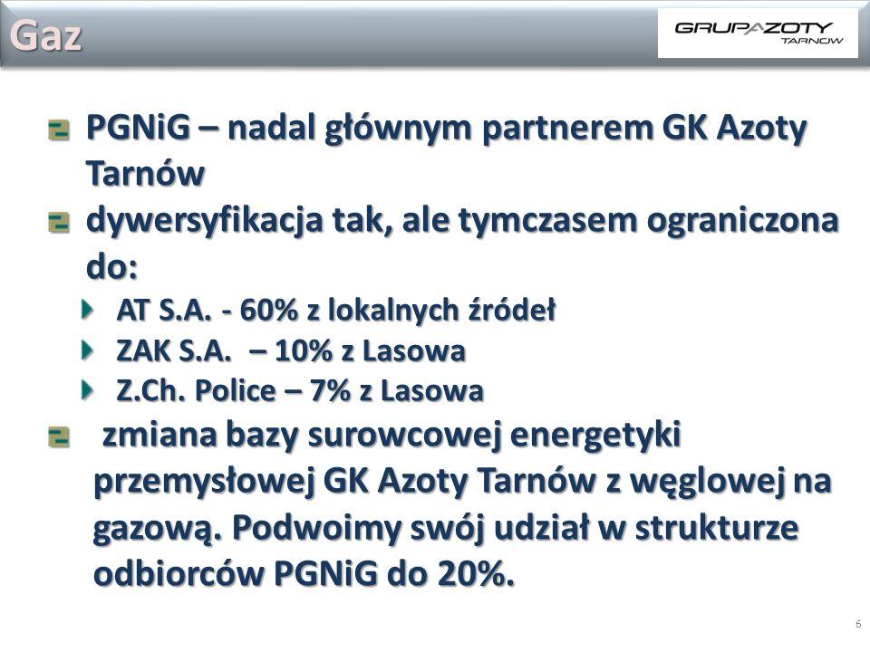 6 PGNiG – nadal głównym partnerem GK Azoty Tarnów dywersyfikacja tak, ale tymczasem ograniczona do: AT S.A. - 60% z lokalnych źródeł ZAK S.A. – 10% z