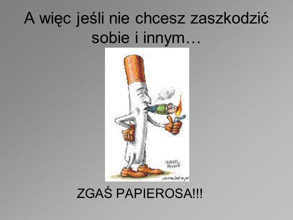 Palenie szkodzi Nie tylko tobie ale również osobom w twoim otoczeniu wdychającym dym tytoniowy!!!