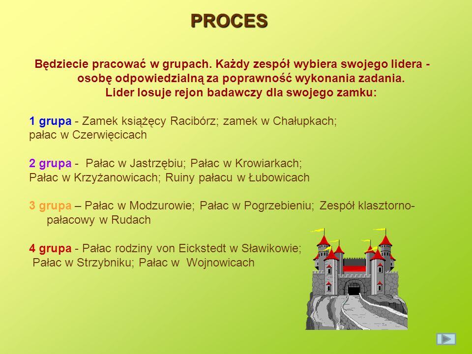 PROCES Korzystając z zasobów internetowych, zbiorów bibliotecznych i innych źródeł zgromadźcie informacje na temat każdego zamku lub pałacu.
