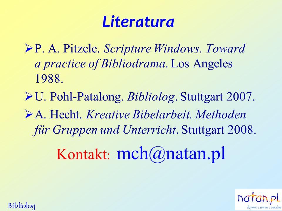 Literatura P. A. Pitzele. Scripture Windows. Toward a practice of Bibliodrama. Los Angeles 1988. U. Pohl-Patalong. Bibliolog. Stuttgart 2007. A. Hecht