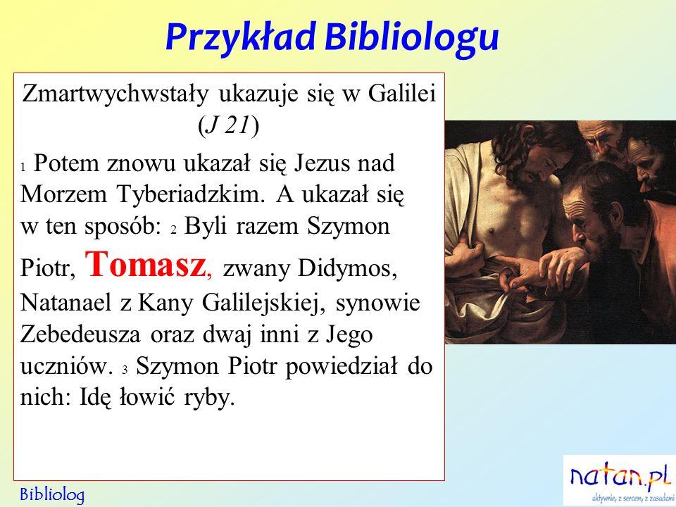 Przykład Bibliologu Bibliolog Zmartwychwstały ukazuje się w Galilei (J 21) 1 Potem znowu ukazał się Jezus nad Morzem Tyberiadzkim. A ukazał się w ten