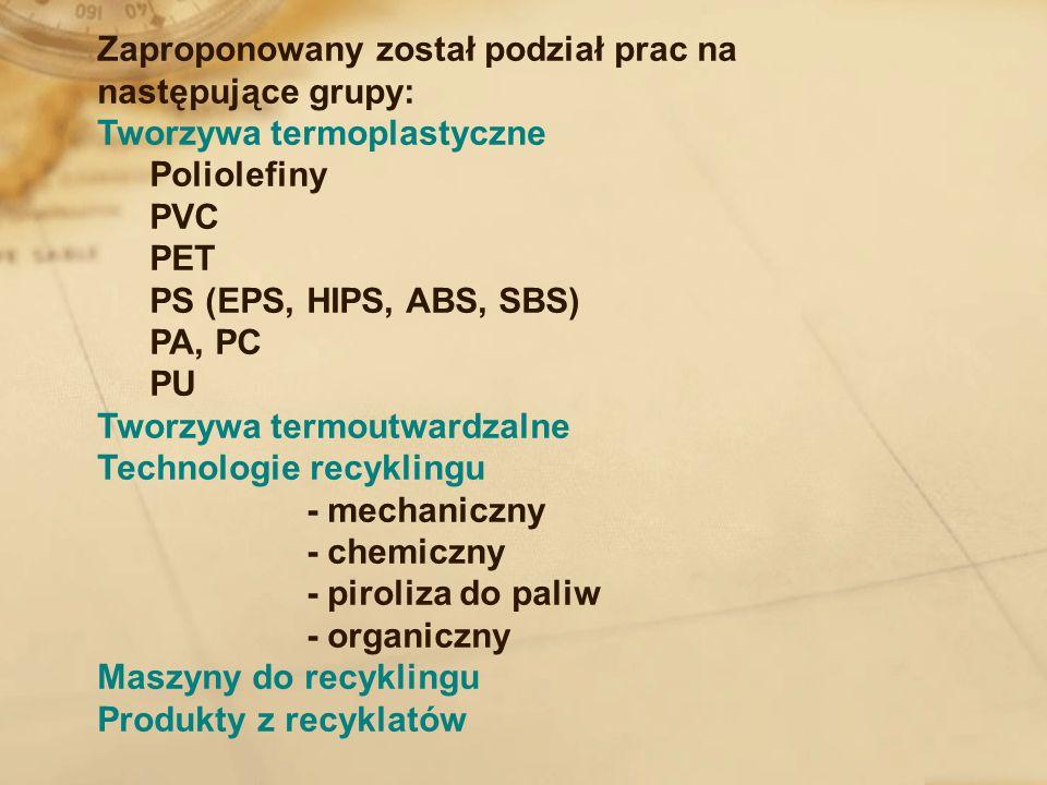 Zaproponowany został podział prac na następujące grupy: Tworzywa termoplastyczne Poliolefiny PVC PET PS (EPS, HIPS, ABS, SBS) PA, PC PU Tworzywa termo