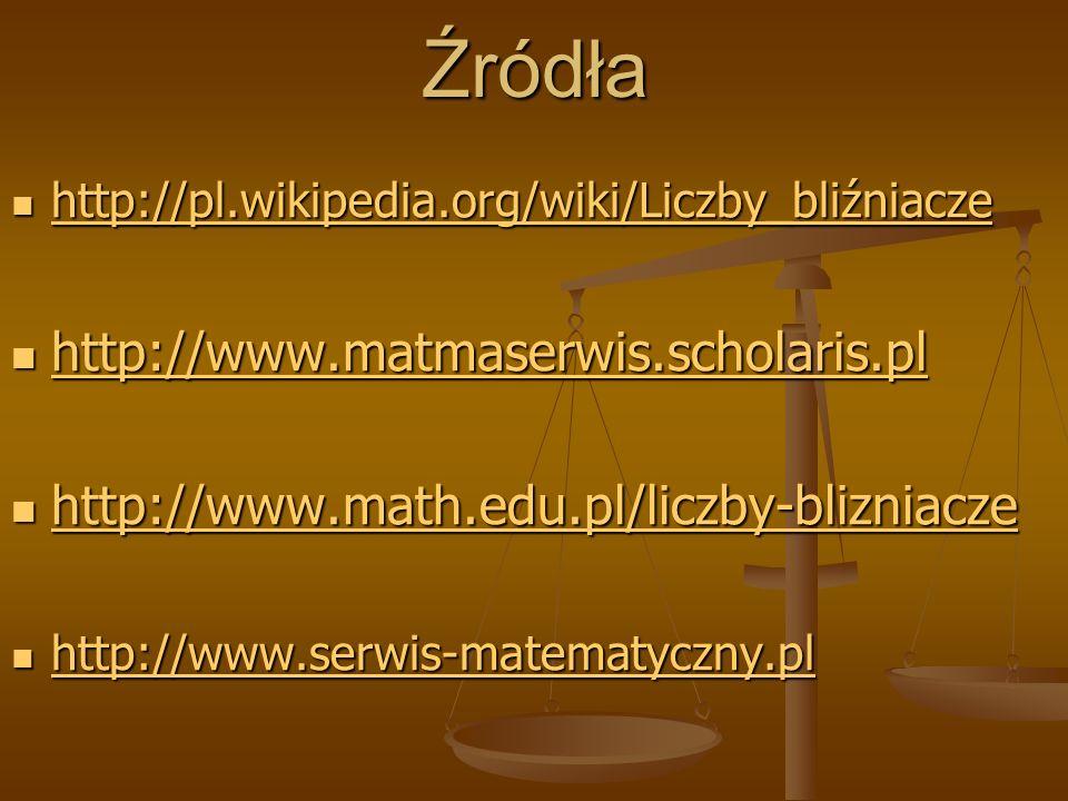 Źródła http://pl.wikipedia.org/wiki/Liczby_bliźniacze http://pl.wikipedia.org/wiki/Liczby_bliźniacze http://pl.wikipedia.org/wiki/Liczby_bliźniacze ht