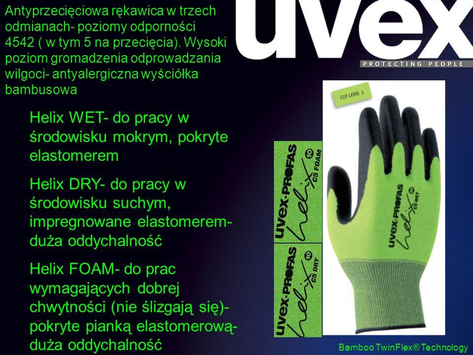 Bamboo TwinFlex® Technology Antyprzecięciowa rękawica w trzech odmianach- poziomy odporności 4542 ( w tym 5 na przecięcia). Wysoki poziom gromadzenia