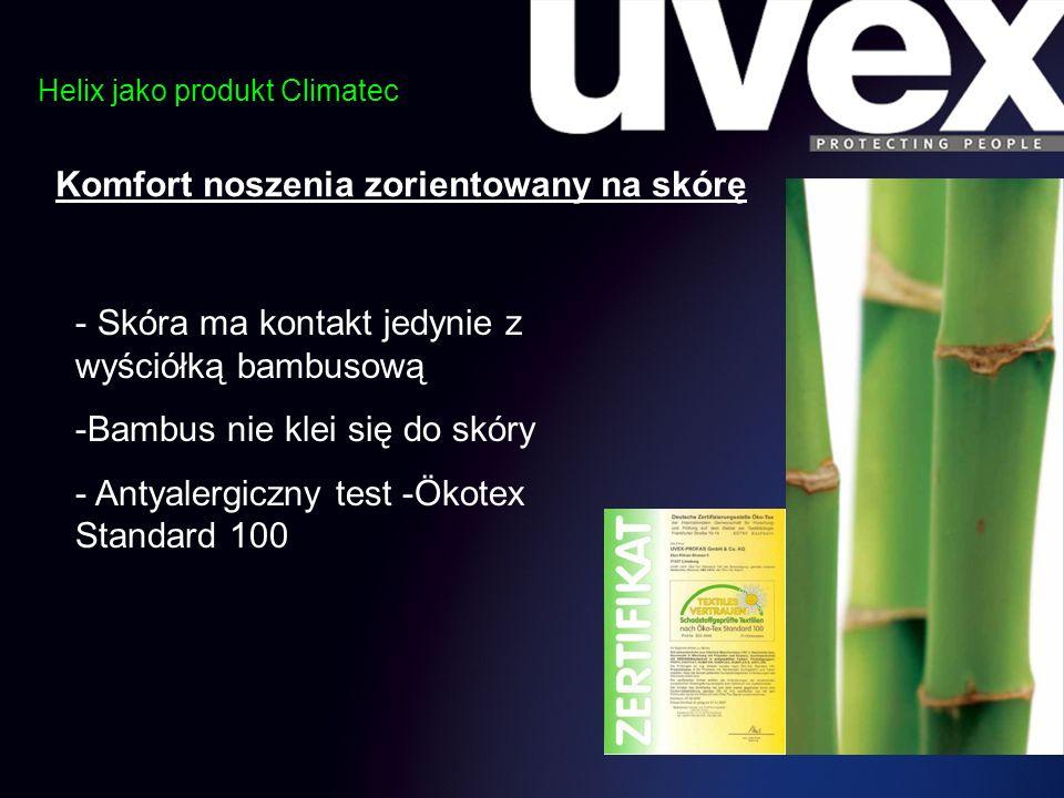 Helix jako produkt Climatec Komfort noszenia zorientowany na skórę - Skóra ma kontakt jedynie z wyściółką bambusową -Bambus nie klei się do skóry - An