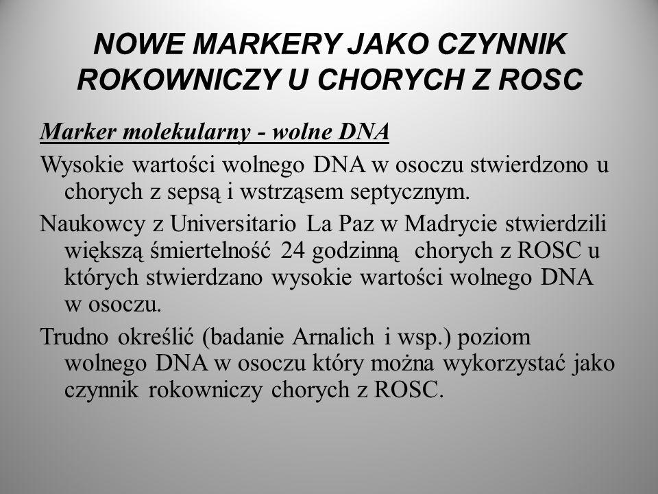 NOWE MARKERY JAKO CZYNNIK ROKOWNICZY U CHORYCH Z ROSC Marker molekularny - wolne DNA Wysokie wartości wolnego DNA w osoczu stwierdzono u chorych z sep