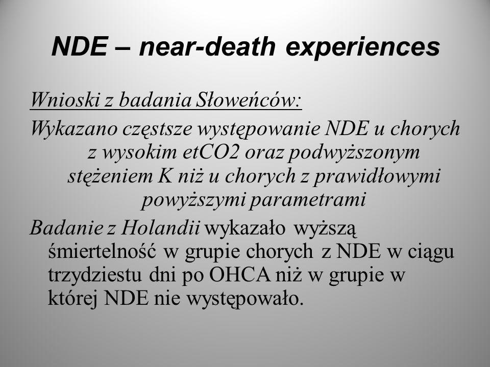 NDE – near-death experiences Wnioski z badania Słoweńców: Wykazano częstsze występowanie NDE u chorych z wysokim etCO2 oraz podwyższonym stężeniem K n