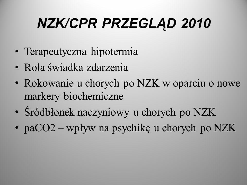 NZK/CPR PRZEGLĄD 2010 Terapeutyczna hipotermia Rola świadka zdarzenia Rokowanie u chorych po NZK w oparciu o nowe markery biochemiczne Śródbłonek nacz